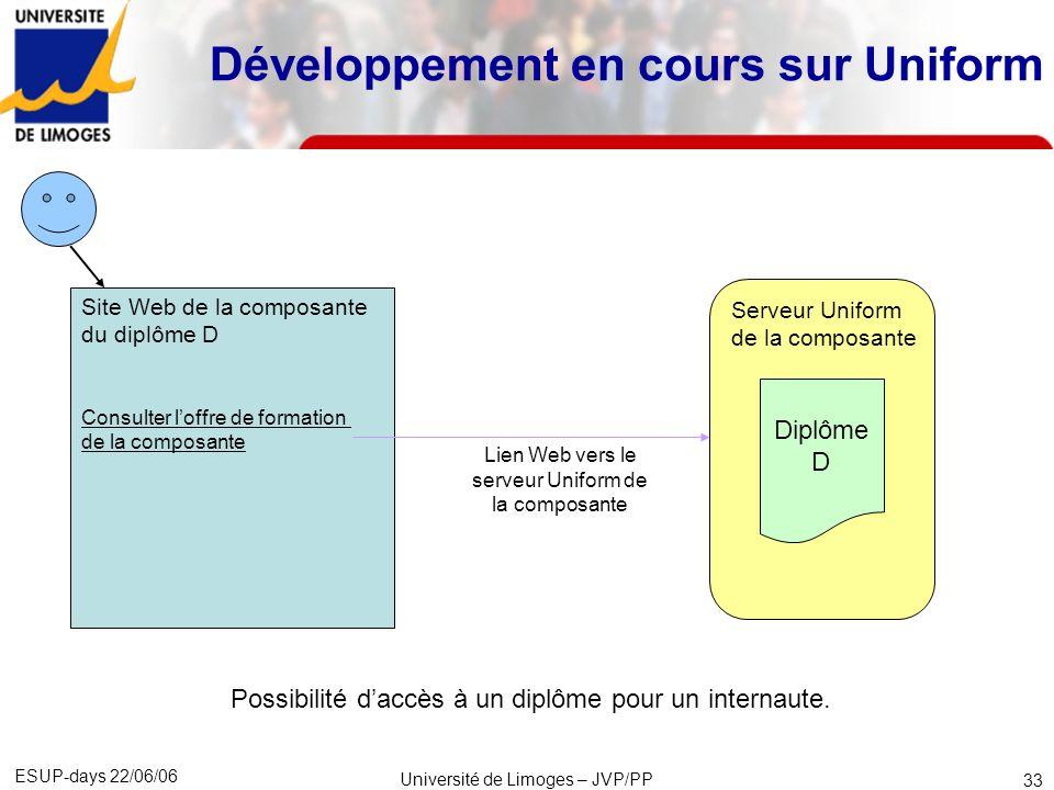 ESUP-days 22/06/06 Université de Limoges – JVP/PP 34 CSS XSLT XSL-FO JavaScript Compétences techniques pour personnaliser en profondeur Uniform