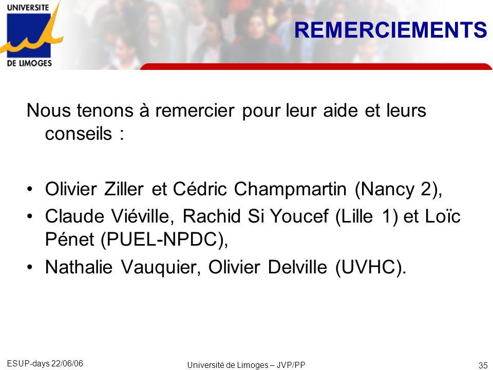 ESUP-days 22/06/06 Université de Limoges – JVP/PP 36 FIN Contacts : Jacques VANDE PUT – jacques.vande-put@unilim.frjacques.vande-put@unilim.fr Patrcik POULINGEAS – patrick.poulingeas@unilim.frpatrick.poulingeas@unilim.fr