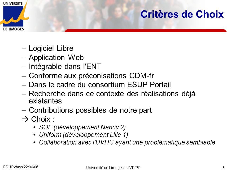 ESUP-days 22/06/06 Université de Limoges – JVP/PP 6 Structure organisationnelle Comité de Pilotage du S.I.