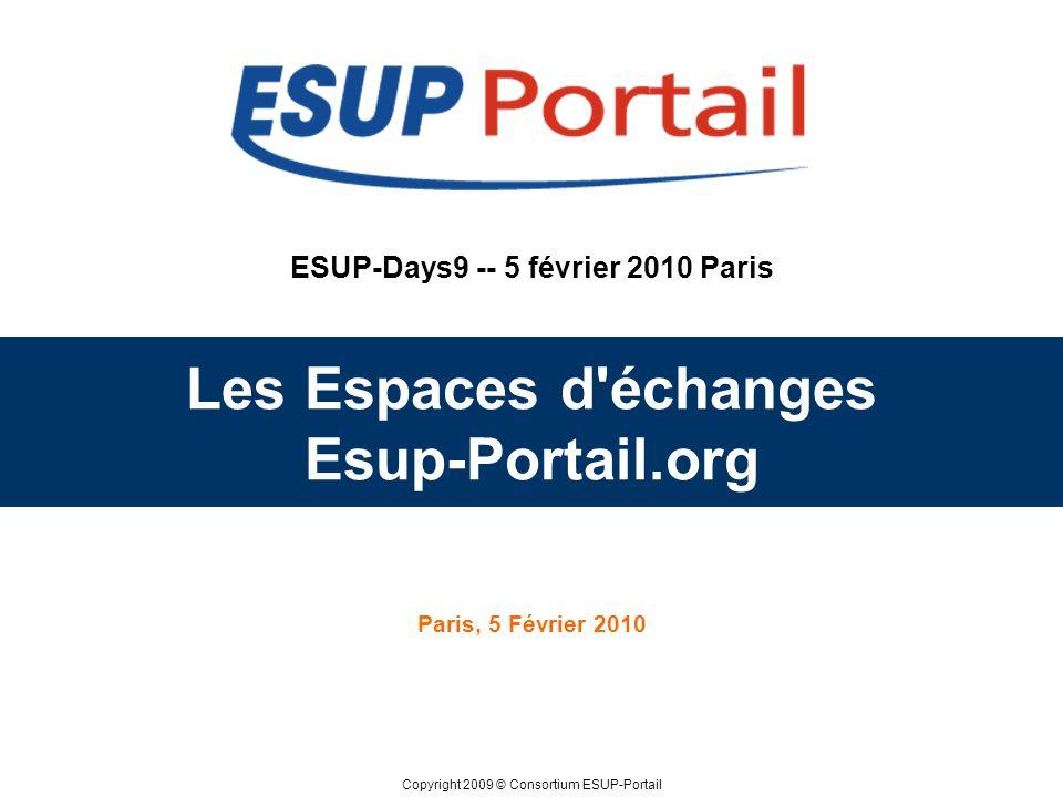 Copyright 2009 © Consortium ESUP-Portail ESUP-Days9 -- 5 février 2010 Paris Les Espaces d échanges Esup-Portail.org Paris, 5 Février 2010
