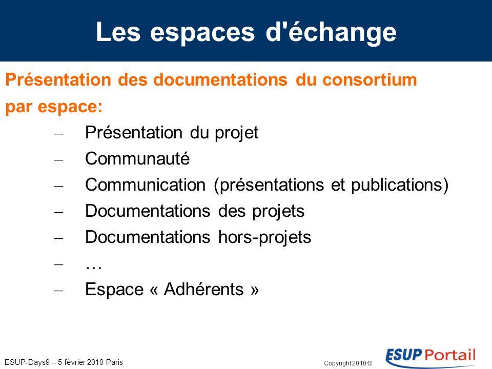 ESUP-Days9 -- 5 février 2010 Paris Présentation des documentations du consortium par espace: – Présentation du projet – Communauté – Communication (présentations et publications) – Documentations des projets – Documentations hors-projets – … – Espace « Adhérents » Les espaces d échange