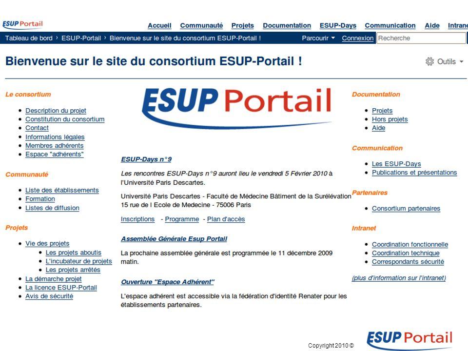 Copyright 2010 © ESUP-Days9 -- 5 février 2010 Paris L espace « adhérents »: Qui .