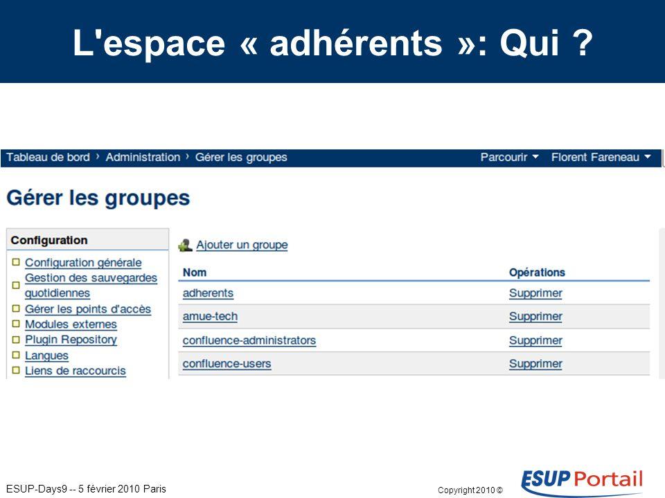 Copyright 2010 © ESUP-Days9 -- 5 février 2010 Paris L espace « adhérents »: Qui