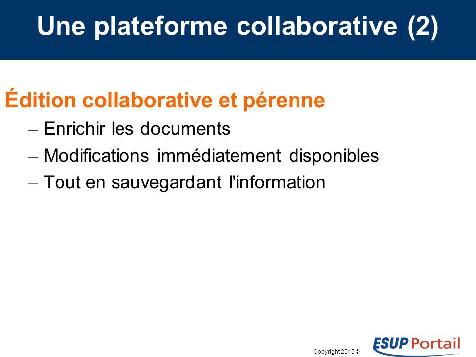 Copyright 2010 © Une plateforme collaborative (3) Contrôle et sécurité de l information – La gestion des autorisations est simple et flexible – Rôles de granularité très fine (groupes, utilisateurs).