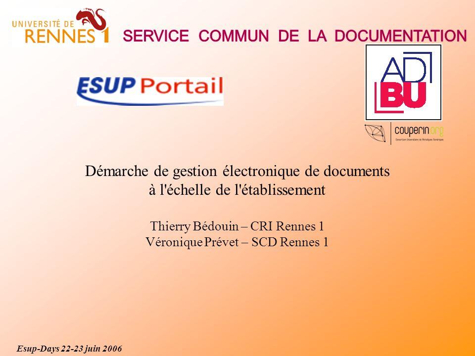 Esup-Days 22-23 juin 2006 Démarche de gestion électronique de documents à l échelle de l établissement Thierry Bédouin – CRI Rennes 1 Véronique Prévet – SCD Rennes 1