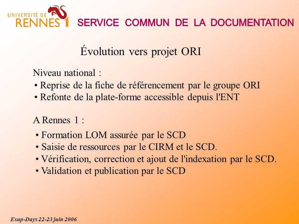 Évolution vers projet ORI Reprise de la fiche de référencement par le groupe ORI Refonte de la plate-forme accessible depuis l ENT Formation LOM assurée par le SCD Saisie de ressources par le CIRM et le SCD.