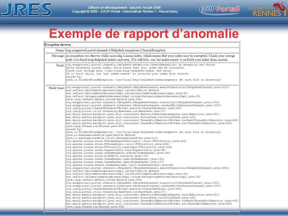 Diffuser un développement - tutoJres 1er juin 2006 Copyright © 2006 – ESUP-Portail - Université de Rennes 1 - Pascal Aubry Exemple de rapport danomalie