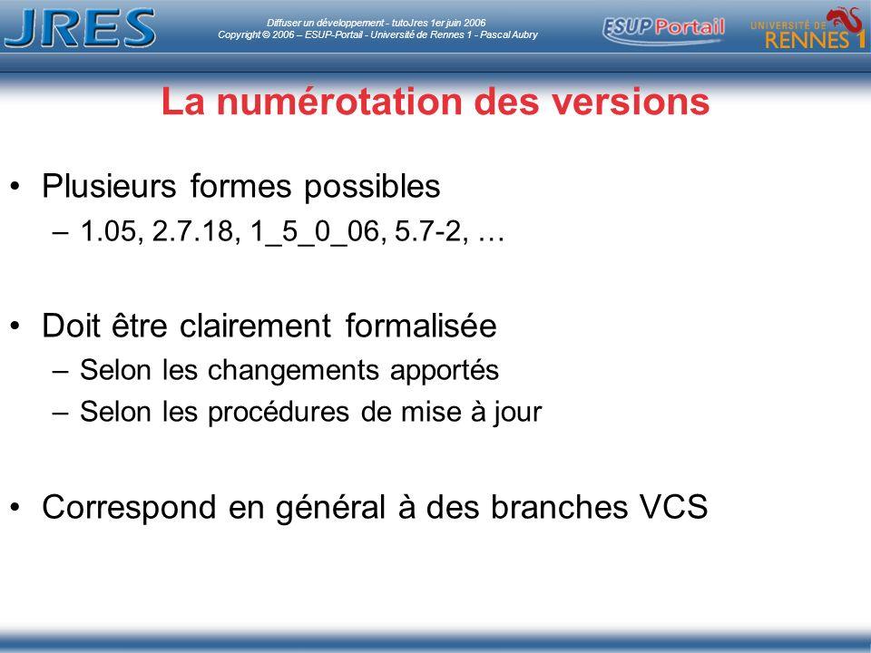 Diffuser un développement - tutoJres 1er juin 2006 Copyright © 2006 – ESUP-Portail - Université de Rennes 1 - Pascal Aubry La numérotation des versions Plusieurs formes possibles –1.05, 2.7.18, 1_5_0_06, 5.7-2, … Doit être clairement formalisée –Selon les changements apportés –Selon les procédures de mise à jour Correspond en général à des branches VCS