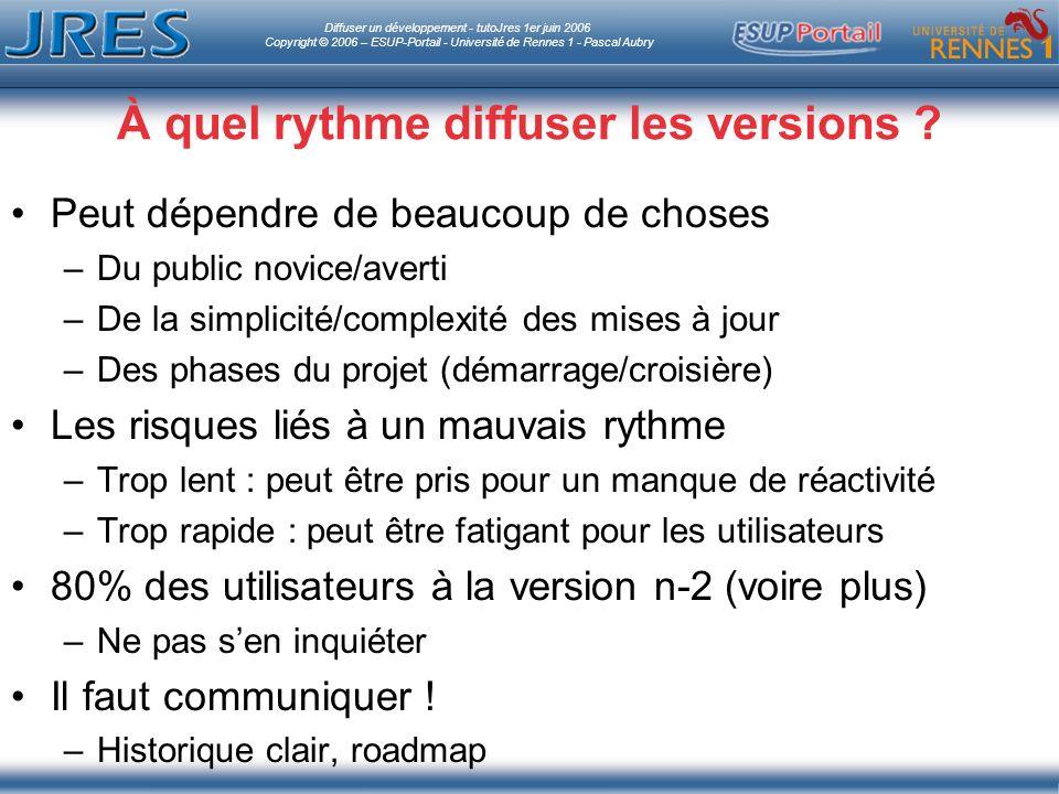 Diffuser un développement - tutoJres 1er juin 2006 Copyright © 2006 – ESUP-Portail - Université de Rennes 1 - Pascal Aubry À quel rythme diffuser les versions .