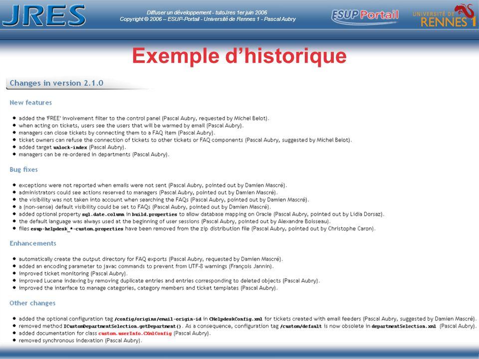 Diffuser un développement - tutoJres 1er juin 2006 Copyright © 2006 – ESUP-Portail - Université de Rennes 1 - Pascal Aubry Exemple dhistorique