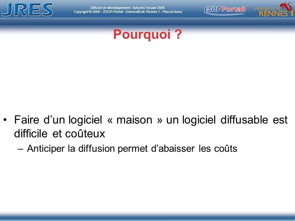 Diffuser un développement - tutoJres 1er juin 2006 Copyright © 2006 – ESUP-Portail - Université de Rennes 1 - Pascal Aubry Pourquoi .