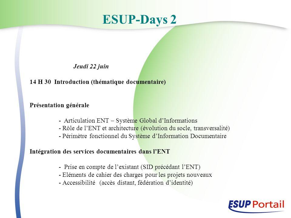 ESUP-Days 2 Jeudi 22 juin 14 H 30 Introduction (thématique documentaire) Présentation générale - Articulation ENT – Système Global dInformations - Rôl