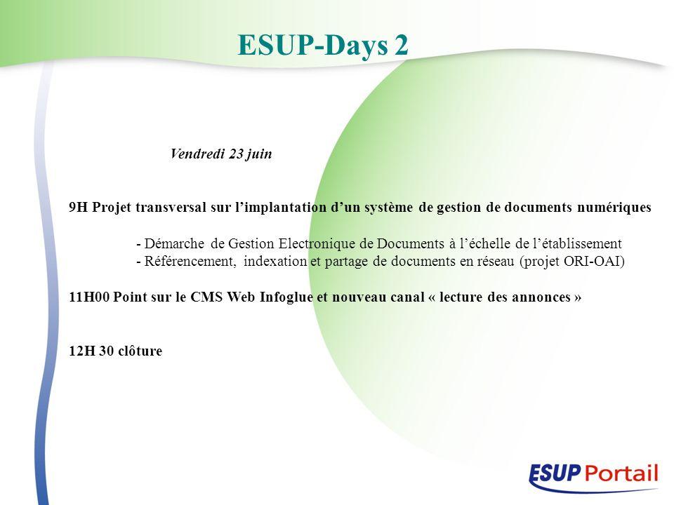 ESUP-Days 2 Vendredi 23 juin 9H Projet transversal sur limplantation dun système de gestion de documents numériques - Démarche de Gestion Electronique
