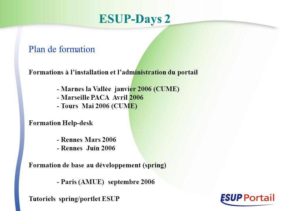 ESUP-Days 2 Plan de formation Formations à linstallation et ladministration du portail - Marnes la Vallée janvier 2006 (CUME) - Marseille PACA Avril 2