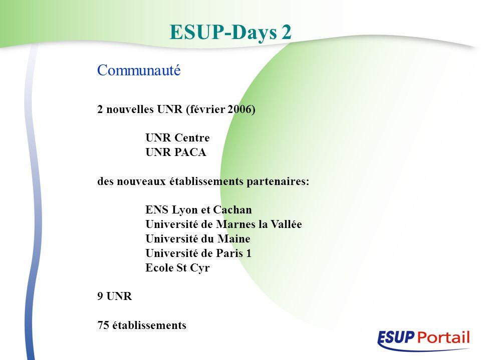 ESUP-Days 2 Communauté 2 nouvelles UNR (février 2006) UNR Centre UNR PACA des nouveaux établissements partenaires: ENS Lyon et Cachan Université de Marnes la Vallée Université du Maine Université de Paris 1 Ecole St Cyr 9 UNR 75 établissements