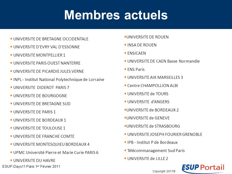 Copyright 2011© Membres actuels UNIVERSITE DE BRETAGNE OCCIDENTALE UNIVERSITE D EVRY VAL D ESSONNE UNIVERSITE MONTPELLIER 1 UNIVERSITE PARIS OUEST NANTERRE UNIVERSITE DE PICARDIE JULES VERNE INPL - Institut National Polytechnique de Lorraine UNIVERSITE DIDEROT PARIS 7 UNIVERSITE DE BOURGOGNE UNIVERSITE DE BRETAGNE SUD UNIVERSITE DE PARIS 1 UNIVERSITE DE BORDEAUX 1 UNIVERSITE DE TOULOUSE 1 UNIVERSITE DE FRANCHE COMTE UNIVERSITE MONTESQUIEU BORDEAUX 4 UPMC Université Pierre et Marie Curie PARIS 6 UNIVERSITE DU HAVRE UNIVERSITE DE ROUEN INSA DE ROUEN ENSICAEN UNIVERSITE DE CAEN Basse Normandie ENS Paris UNIVERSITE AIX MARSEILLES 3 Centre CHAMPOLLION ALBI UNIVERSITE de TOURS UNIVERSITE dANGERS UNIVERSITE de BORDEAUX 2 UNIVERSITE de GENEVE UNIVERSITE de STRASBOURG UNIVERSITE JOSEPH FOURIER GRENOBLE IPB - Institut P de Bordeaux Télécommanagement Sud Paris UNIVERSITE de LILLE 2 ESUP-Days11 Paris 1 er Février 2011