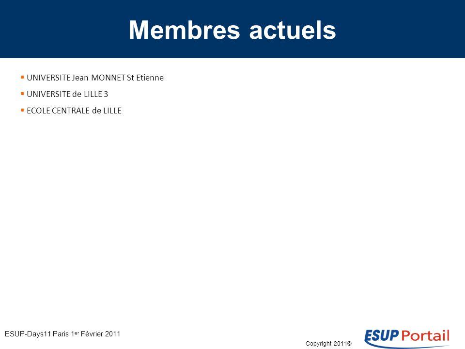 Copyright 2011© Membres actuels UNIVERSITE Jean MONNET St Etienne UNIVERSITE de LILLE 3 ECOLE CENTRALE de LILLE ESUP-Days11 Paris 1 er Février 2011