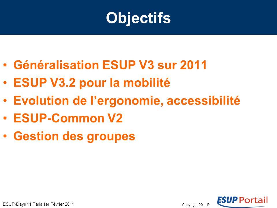 Copyright 2011© ESUP-Days 11 Paris 1er Février 2011 Objectifs Généralisation ESUP V3 sur 2011 ESUP V3.2 pour la mobilité Evolution de lergonomie, accessibilité ESUP-Common V2 Gestion des groupes