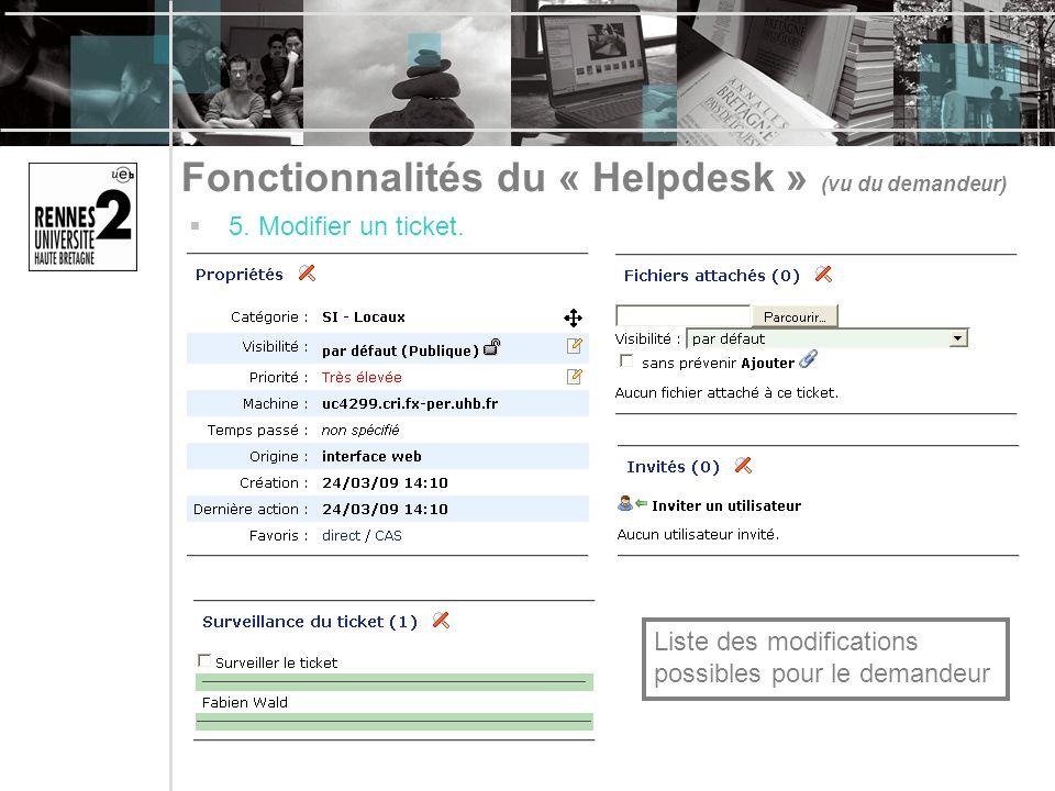 Fonctionnalités du « Helpdesk » (vu du demandeur) 5. Modifier un ticket. Liste des modifications possibles pour le demandeur