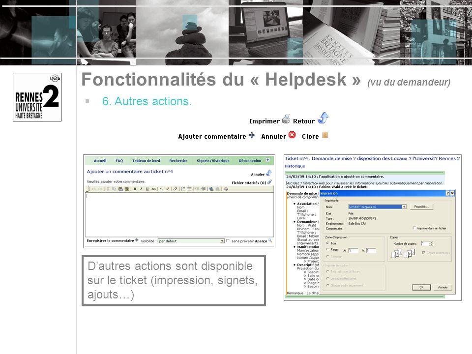 Fonctionnalités du « Helpdesk » (vu du demandeur) 6. Autres actions. Dautres actions sont disponible sur le ticket (impression, signets, ajouts…)