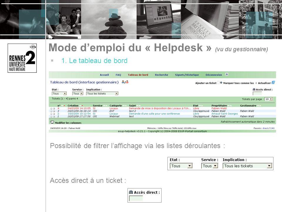 Mode demploi du « Helpdesk » (vu du gestionnaire) 1. Le tableau de bord Possibilité de filtrer laffichage via les listes déroulantes : Accès direct à