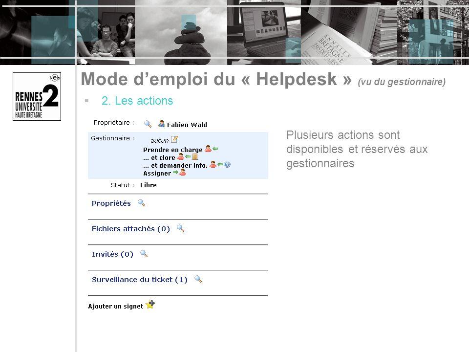 Mode demploi du « Helpdesk » (vu du gestionnaire) 2. Les actions Plusieurs actions sont disponibles et réservés aux gestionnaires