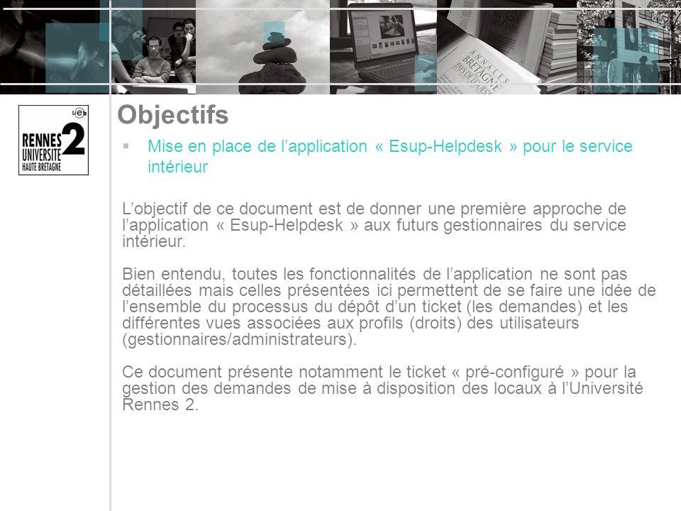 Objectifs Mise en place de lapplication « Esup-Helpdesk » pour le service intérieur Lobjectif de ce document est de donner une première approche de la