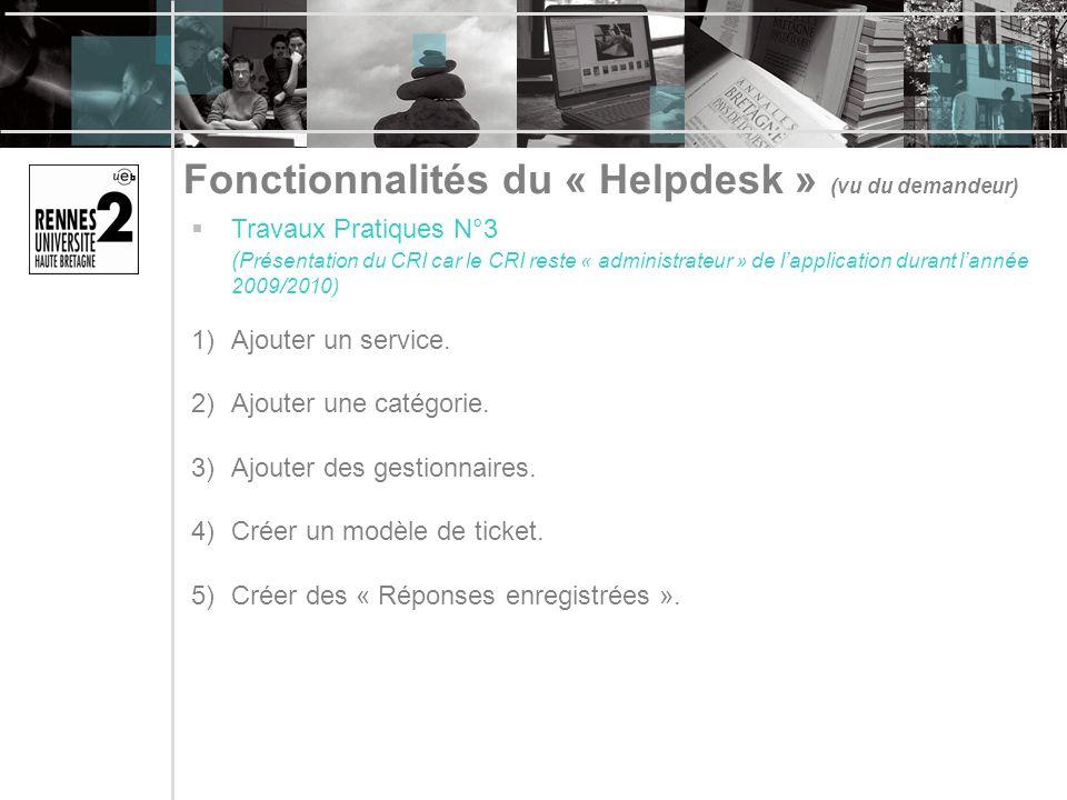 Fonctionnalités du « Helpdesk » (vu du demandeur) Travaux Pratiques N°3 ( Présentation du CRI car le CRI reste « administrateur » de lapplication dura