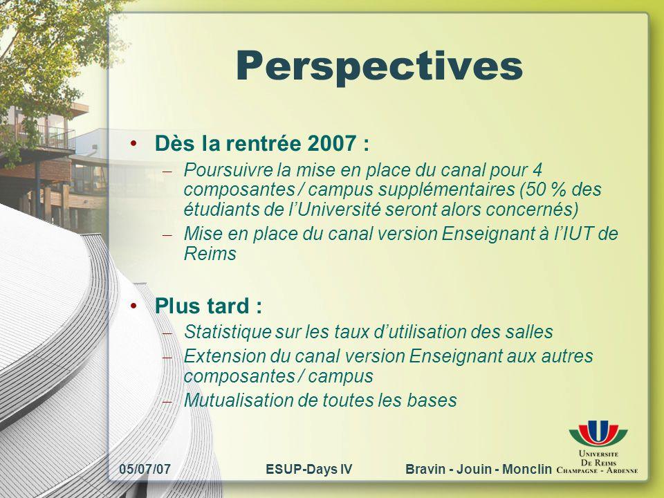 05/07/07ESUP-Days IV Bravin - Jouin - Monclin Perspectives Dès la rentrée 2007 : – Poursuivre la mise en place du canal pour 4 composantes / campus su