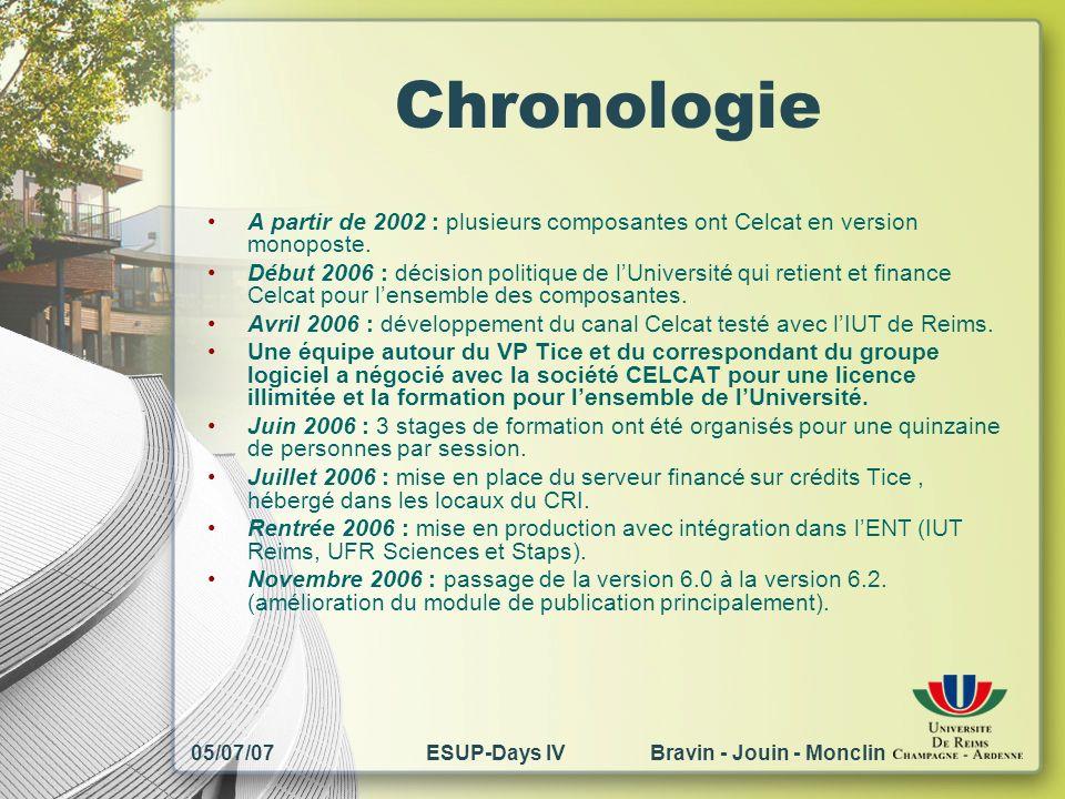05/07/07ESUP-Days IV Bravin - Jouin - Monclin Chronologie A partir de 2002 : plusieurs composantes ont Celcat en version monoposte. Début 2006 : décis