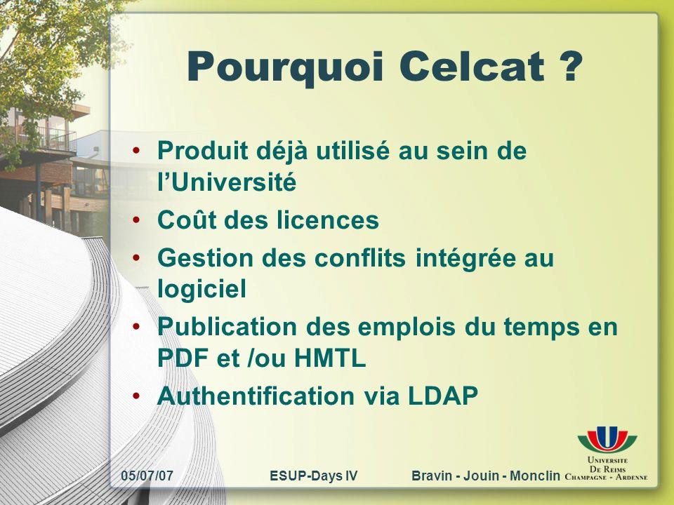 05/07/07ESUP-Days IV Bravin - Jouin - Monclin Pourquoi Celcat ? Produit déjà utilisé au sein de lUniversité Coût des licences Gestion des conflits int