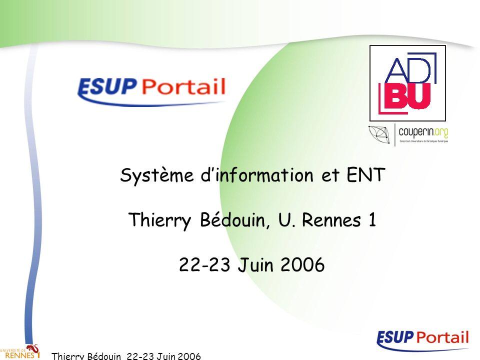 Thierry Bédouin 22-23 Juin 2006 Système dinformation et ENT Thierry Bédouin, U. Rennes 1 22-23 Juin 2006
