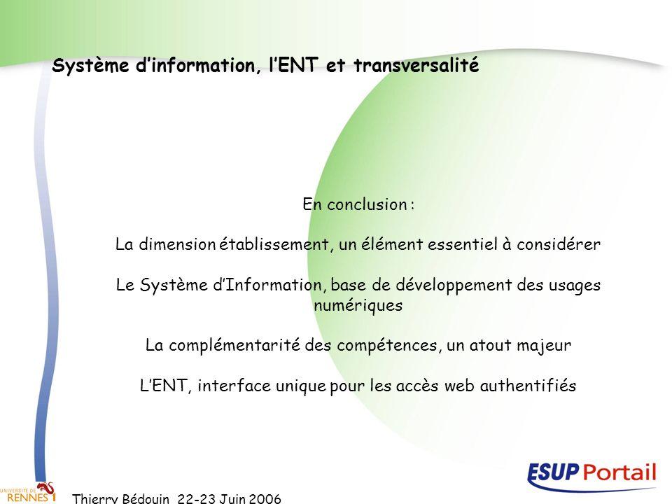 Thierry Bédouin 22-23 Juin 2006 Système dinformation, lENT et transversalité En conclusion : La dimension établissement, un élément essentiel à consid