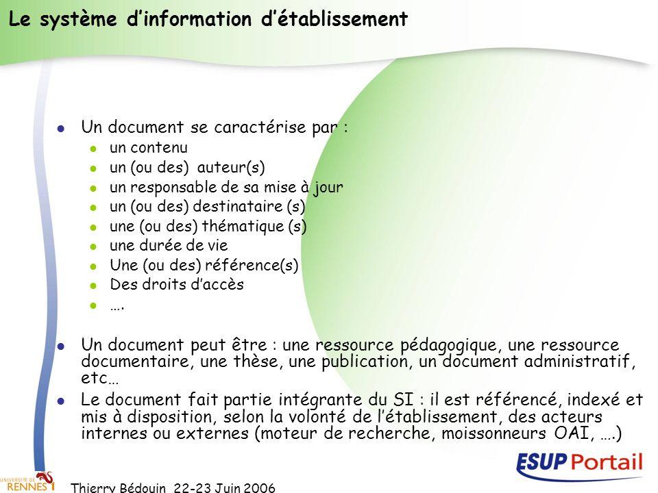 Thierry Bédouin 22-23 Juin 2006 Le système dinformation détablissement Un document se caractérise par : un contenu un (ou des) auteur(s) un responsabl