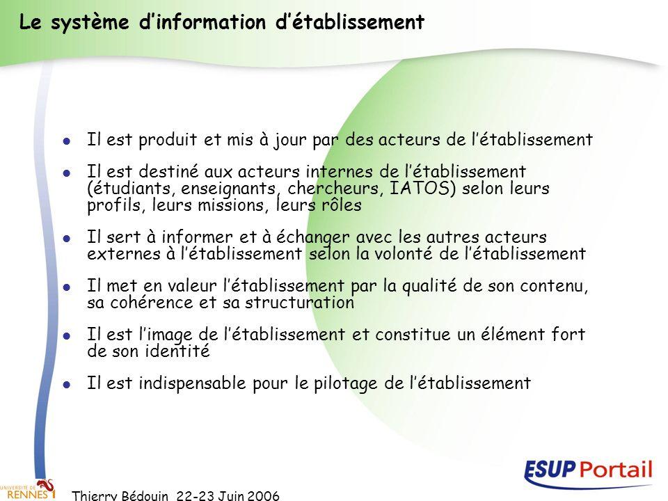 Thierry Bédouin 22-23 Juin 2006 Le système dinformation détablissement Il est produit et mis à jour par des acteurs de létablissement Il est destiné a