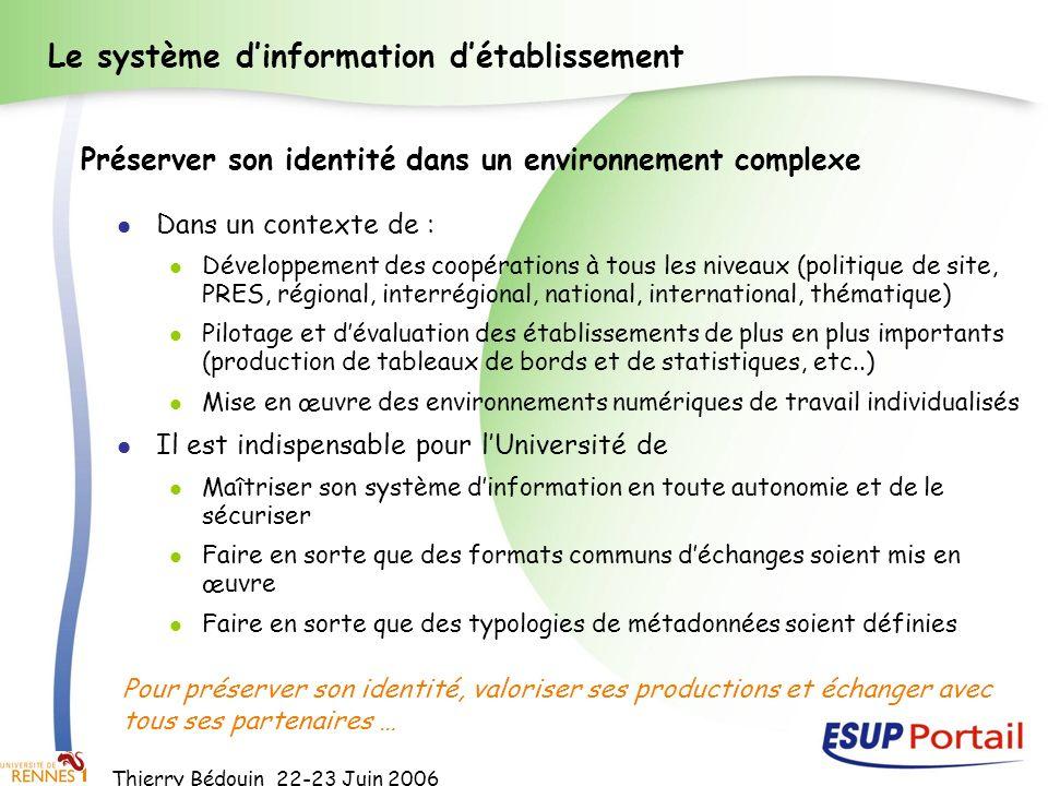 Thierry Bédouin 22-23 Juin 2006 Le système dinformation détablissement Dans un contexte de : Développement des coopérations à tous les niveaux (politi