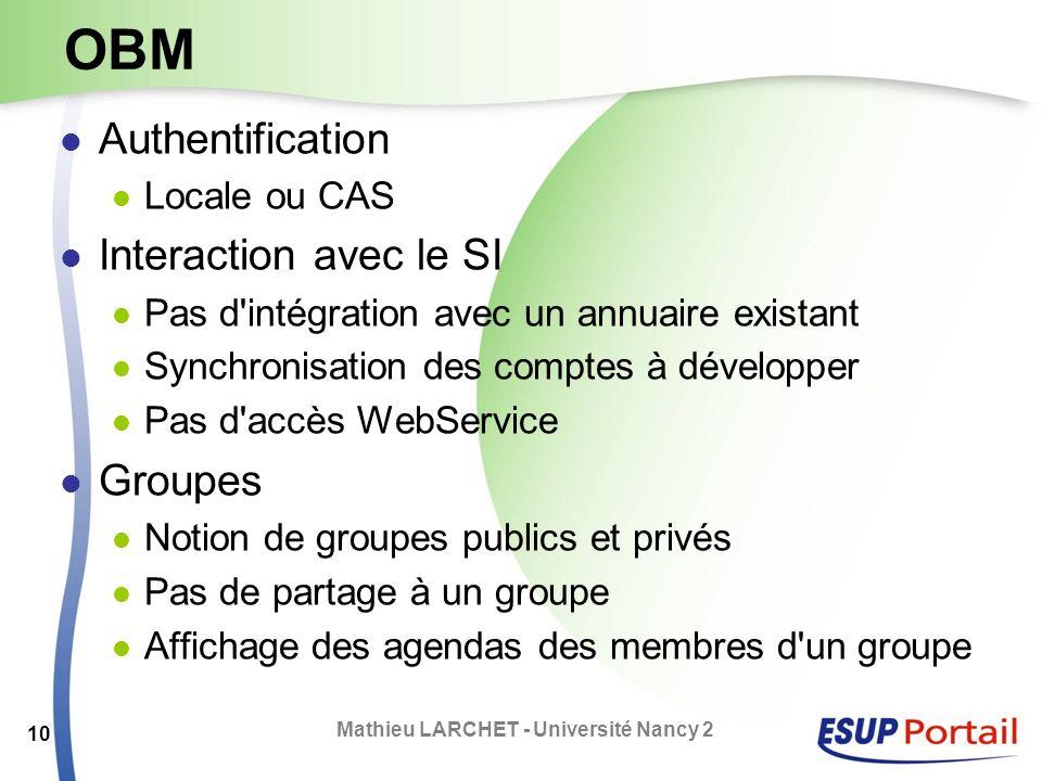 OBM Authentification Locale ou CAS Interaction avec le SI Pas d'intégration avec un annuaire existant Synchronisation des comptes à développer Pas d'a