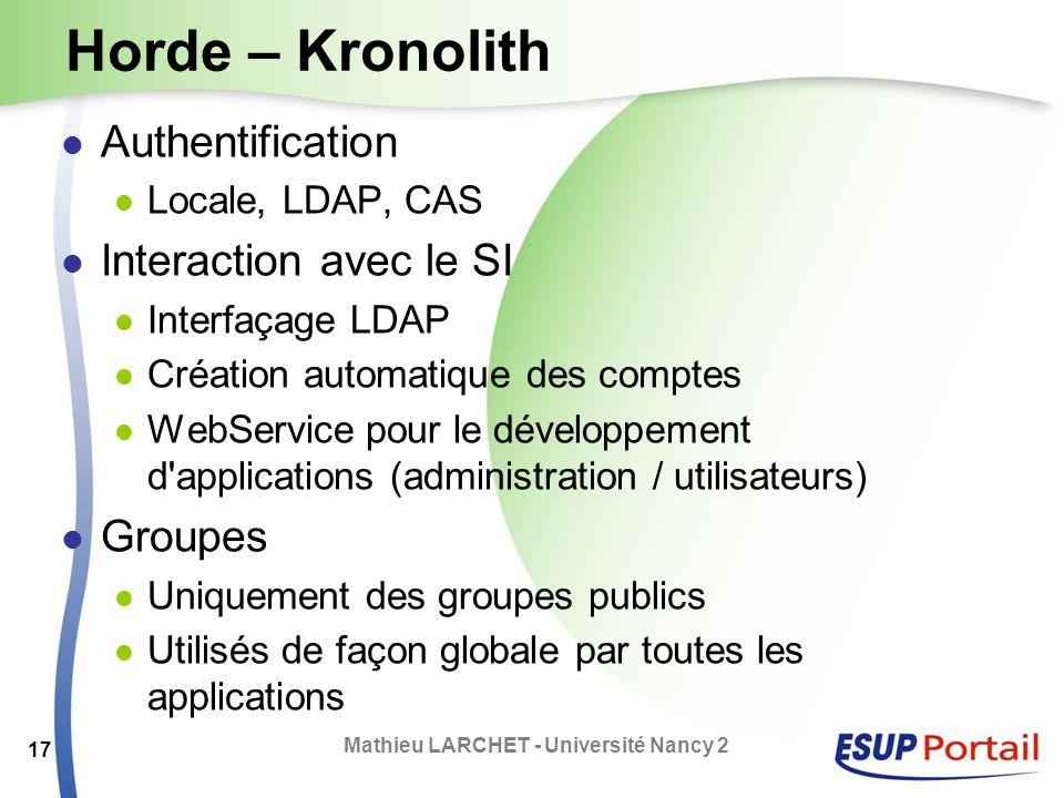 Horde – Kronolith Authentification Locale, LDAP, CAS Interaction avec le SI Interfaçage LDAP Création automatique des comptes WebService pour le dével