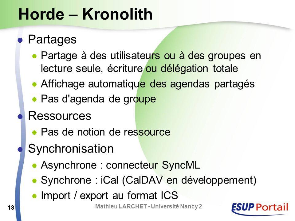 Horde – Kronolith Partages Partage à des utilisateurs ou à des groupes en lecture seule, écriture ou délégation totale Affichage automatique des agend