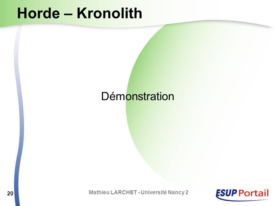Horde – Kronolith Démonstration Mathieu LARCHET - Université Nancy 2 20