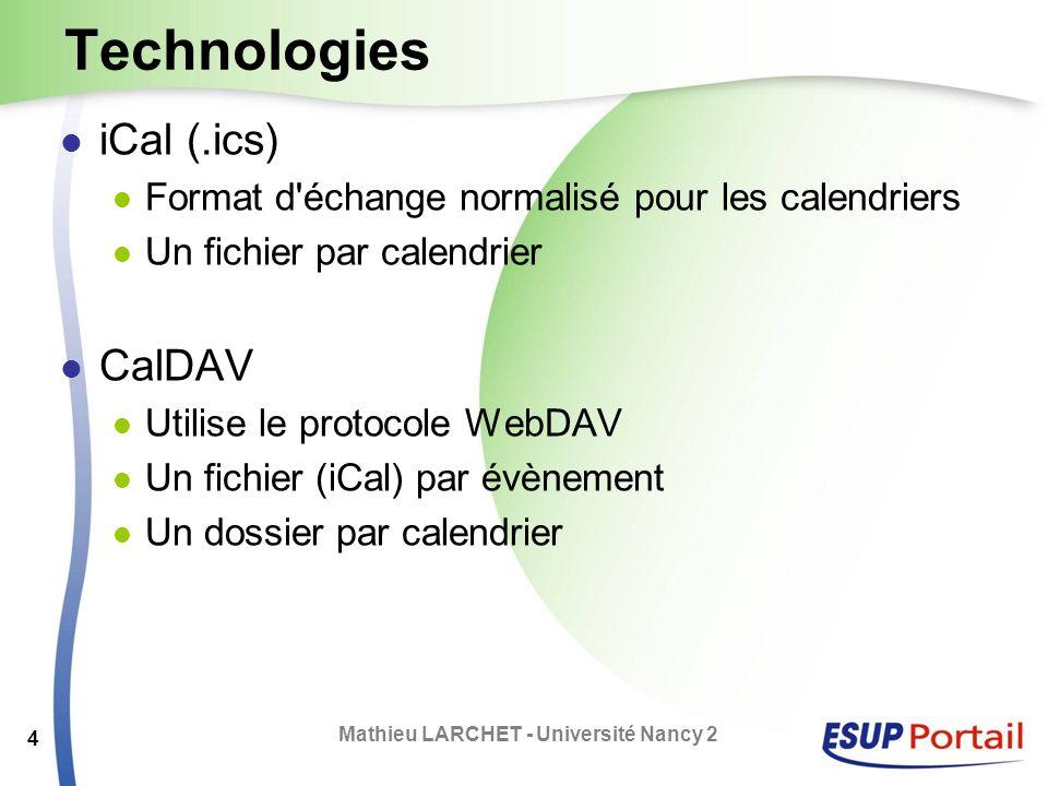 Technologies iCal (.ics) Format d'échange normalisé pour les calendriers Un fichier par calendrier CalDAV Utilise le protocole WebDAV Un fichier (iCal