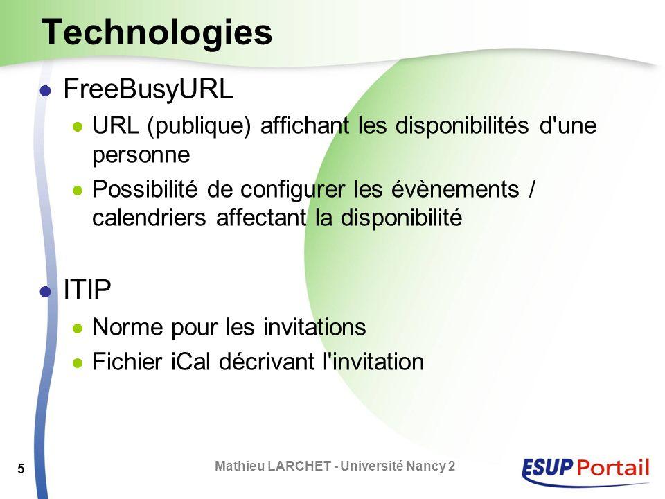 Technologies FreeBusyURL URL (publique) affichant les disponibilités d'une personne Possibilité de configurer les évènements / calendriers affectant l