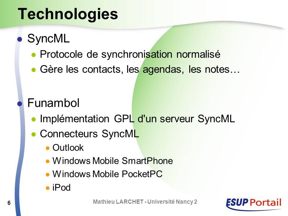 Technologies SyncML Protocole de synchronisation normalisé Gère les contacts, les agendas, les notes… Funambol Implémentation GPL d'un serveur SyncML