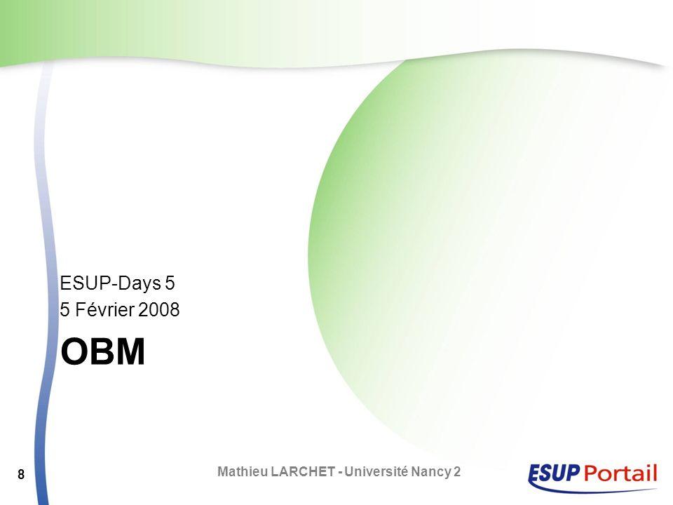 OBM Application PHP – Open Source Développée par Aliasource (Linagora) OBM s intègre dans une suite logicielle vendue par Aliasource La partie agenda n est que l une des facettes de l application Mathieu LARCHET - Université Nancy 2 9
