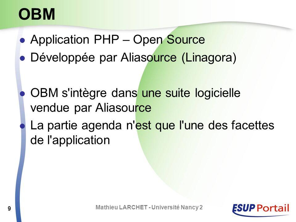 OBM Application PHP – Open Source Développée par Aliasource (Linagora) OBM s'intègre dans une suite logicielle vendue par Aliasource La partie agenda
