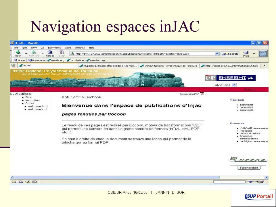 CSIESR-Arles 16/05/06 -F. JANNIN- B. SOR Navigation espaces inJAC