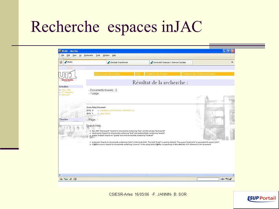 CSIESR-Arles 16/05/06 -F. JANNIN- B. SOR Recherche espaces inJAC