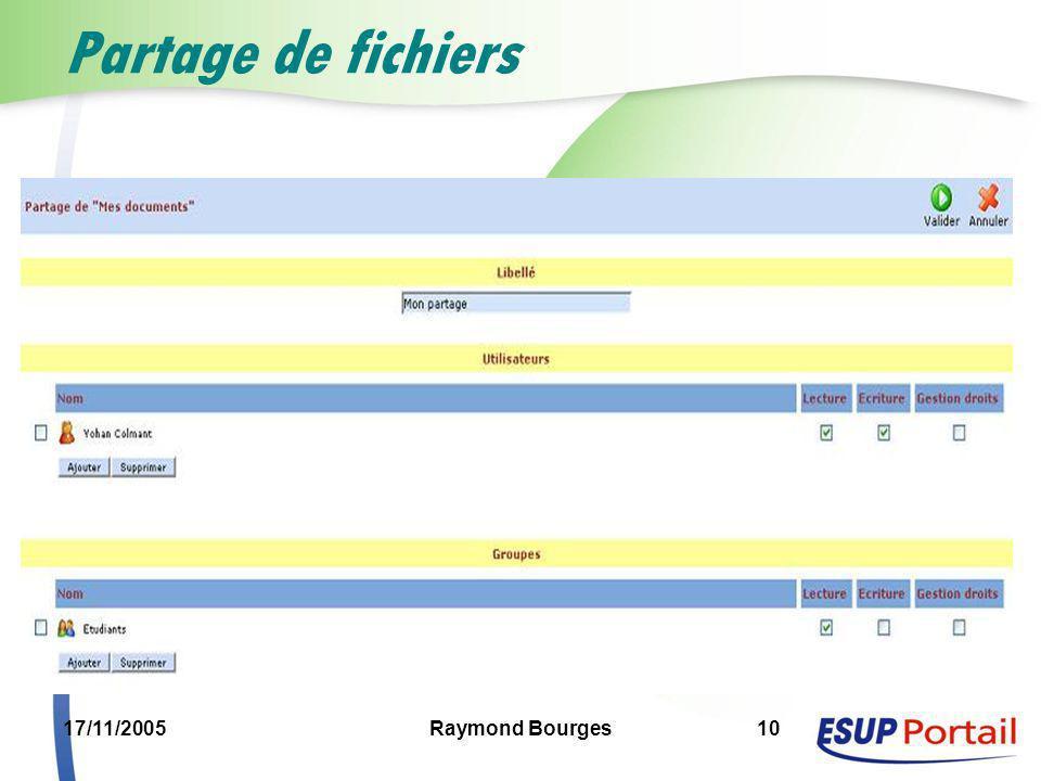 17/11/2005Raymond Bourges10 Partage de fichiers