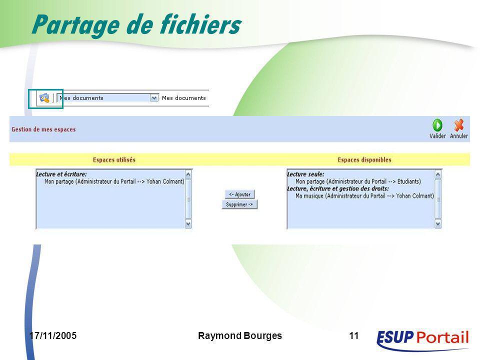 17/11/2005Raymond Bourges11 Partage de fichiers