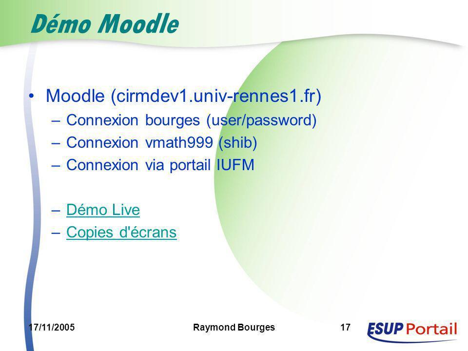 17/11/2005Raymond Bourges17 Démo Moodle Moodle (cirmdev1.univ-rennes1.fr) –Connexion bourges (user/password) –Connexion vmath999 (shib) –Connexion via